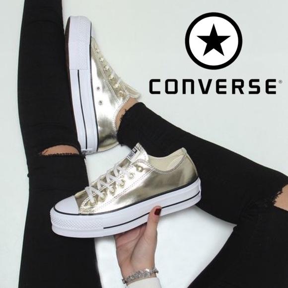 ⬇️ Converse ✨ Gold Platform Sneakers